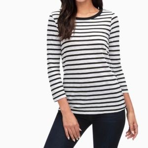 Splendid Scoop neck 3/4 sleeve striped Tunic